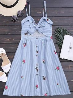 Bowknot Smocked Cut Out Slip Dress - Multicolor Xl Trendy Dresses, Cute Dresses, Casual Dresses, Girls Dresses, Woman Dresses, Dress Outfits, Fashion Dresses, Cute Outfits, Mode Lookbook