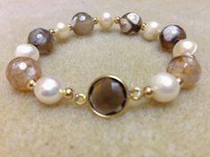 pulsera de perla de rió con jaspe musgoso facetado