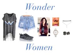 #WonderWoman by fashionbyaaliya on Polyvore featuring polyvore, fashion, style, NIKE, Wet Seal and ASOS Curve
