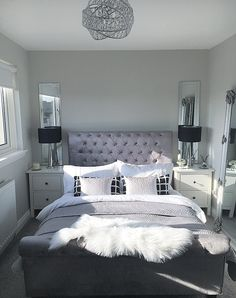 Master Bedroom Inspo Goals Black And White Silver Sheepskin Rug Mirrored Bedside Table Lamps