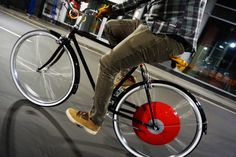 The Copenhagen Wheel transforms your bicycle into a smart electric hybrid, quickly and easily. The Wheel learns how you pedal and integrates seamlessly with your motion, multiplying your pedal power by 3x–10x. It makes hills feel flat and distances shrink, so you can cycle just about anywhere.
