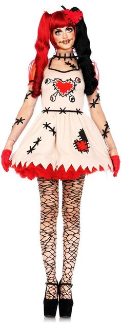Creepy Cute Voodoo Puppet Stitched Dress Outfit Rag Doll Costume Adult Women #LegAvenue