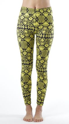 d7f1b747ba5 Women s Plus Size Funky Yellow Tribal Ankle Leggings