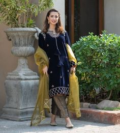 BACK IN STOCK Presenting 'Makhmali', An eastern velvet kameez embellished with intricate work of zari, gota, gold sequins and rich colors… Beautiful Casual Dresses, Beautiful Pakistani Dresses, Pakistani Party Wear Dresses, Designer Party Wear Dresses, Pakistani Dress Design, Pakistani Outfits, Stylish Dresses, Simple Dresses, Designer Wear