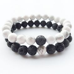 Lava Stone 2 Pcs / Set Black and White Bracelet