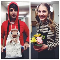 Love this E.T., Elliot + Gertie '80s-inspired Halloween couples costume idea.