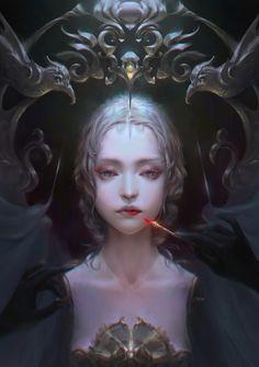 ArtStation - 1, Ying yelu-TY Beautiful Fantasy Art, Dark Fantasy Art, Character Art, Character Design, Digital Art Girl, Medieval Fantasy, Anime Art Girl, Face Art, Fantasy Characters