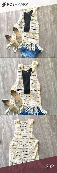 Everly Crochet Vest Size Small Everly Crochet vest size small This vest is perfect for summer! Be festival ready with a crop top layered underneath! Approx flat lay measurements Shoulder to hem( start of fringe): 24in Offers welcome! Everly Tops