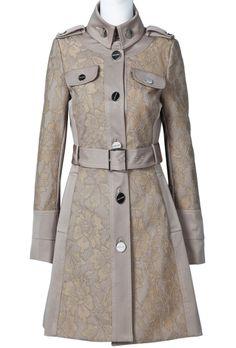Khaki Long Sleeve Epaulet Belt Trench Coat