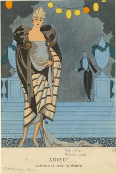 George Barbier (1882-1932) - French Art Deco Fashion Illustrator - Manteau du soir, de Worth,1921