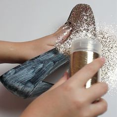 DIY Glitter Heels... For the heels you want to cover up that you buy at a cheap thrift store... Perfect!