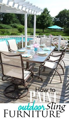 Outdoor furniture painting tutorial. How to paint outdoor sling furniture so it will last for years. I did this set 3 years ago and it still looks great. | In My Own Style