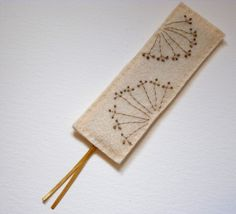 Cow Parsley Gold Embroidered Felt Bookmark by FudgeandPoppy, £4.00