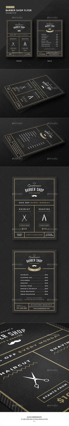 Barbershop Flyer  — PSD Template #price list • Only available here ➝ https://graphicriver.net/item/barbershop-flyer/17672271?ref=pxcr