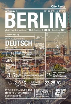 Berlin is the third most popular city to visit in all of Europe and it's not hard to see why. We put together some fun facts about the city in this Berlin infographic. Travel Info, Travel Advice, Travel Guides, Travel Tips, Travel Packing, Places Around The World, Around The Worlds, Typographie Inspiration, Berlin Travel