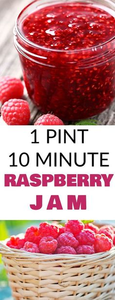 Driscoll's Raspberries - Package 10 Minute Raspberry Jam - Raspberries - Ideas of Raspberries - EASY 1 PINT 10 MINUTE Raspberry Jam! This simple recipe uses 1 pint of fresh raspberries honey and lemon juice to make delicious jam! This homemade jam is h Salsa Dulce, Jelly Recipes, Drink Recipes, Easy Jam Recipes, Smoothie Recipes, Freezer Jam Recipes, Juice Recipes, Soup Recipes, Chicken Recipes