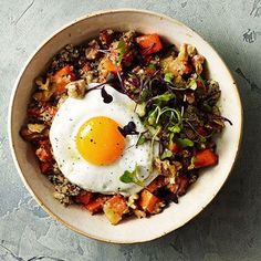Roasted Sweet Potato, Quinoa and Fried Egg Bowl