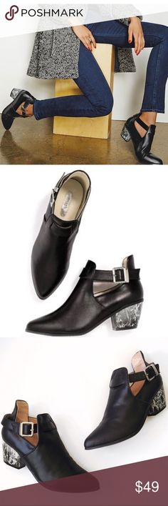 ➡Avon Marc Matble Heel Cut Out Booties⬅ Chic and trendy booties with black and white marbleized block heel, paired with the unique cut out design and detailed buckle. It's an extremely eye-catching bootie. Comfortable 1.5 inch heel. New with dust bag. Avon Marc Shoes Ankle Boots & Booties