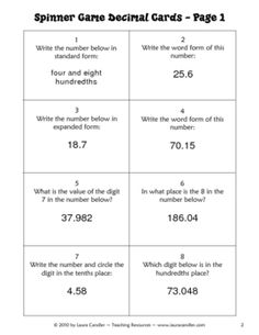 Decimal Review Game Cards freebie from Laura Candler