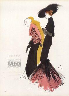 Molyneux & Jacques Fath 1946 Evening Gown, René Gruau, Fashion Illustration