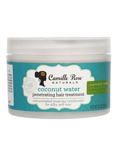 Camille Rose Coconut Water Penetrating Hair Treatment.  Per review:  a super hydrating mix of coconut water and aloe vera juice. Add the tropical butter and oils and you get an unforgettable deep penetration to your hair shaft with maximum moisture and shine.