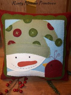 Handmade by RustyNeedlePrimitive on Etsy, using a pattern by Tammy DeYoung. Holiday Crafts, Holiday Decor, Blanket Stitch, Applique Patterns, Show And Tell, Snowmen, Hand Stitching, Wool Felt, Christmas Stockings