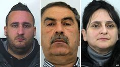 Family of top Mafia 'godfather' arrested in Sicily From left: Guttadaro Francesco, Mario Messina Denaro and Patrizia Messina Denaro (composite image of police handout pictures)