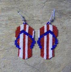 Red, White, And Blue Flip Flop Earrings Hand Made Seed Beaded