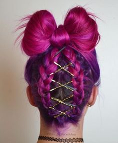 love her bow hairstyle and purple ombre color