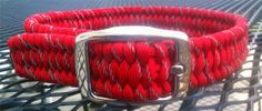 REFLECTIVE Adjustable Paracord Dog Collar.  One or Two Colors. $25.00, via Etsy.