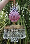 Vintage hanging SWAG Cranberry Fenton Coin dot art Glass Crystal Lamp Chandelier