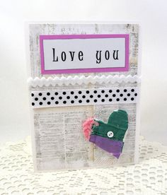Love You Card  Valentine's Day Card  Heart by PrettyByrdDesigns