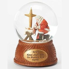 55 Bowing Santa Glitter Dome 100mm Wind Up Every Knee Shall Bow Plays Oh Holy Night by Roman >>> Check out the image by visiting the link.
