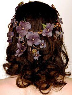 Floral Crown Head Piece. Cascading Veil of Purple Blue Flowers. Woodland. Summer Festivals. Forest Nymph