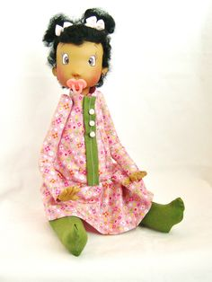 Ooak Handmade Baby Art Doll in Pink and Green