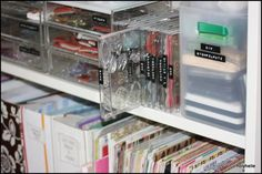 empty cd cases to hold clar stamps. great idea Craft Room Feature at Craftaholics Anonymous