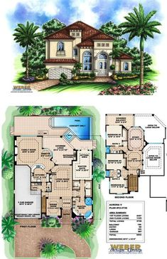 F2-3736 - Aurora V - two-story Waterfront house plan with 3,736 square feet of living area, 4 bedrooms, 3 full baths, 1 half-bath, 3 car garage.