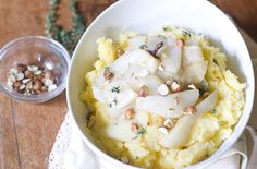 Mashed Rutabaga with Ginger-Roasted Pears and Hazelnuts