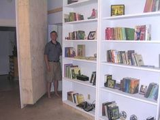 10 foot high swing out bookcases.