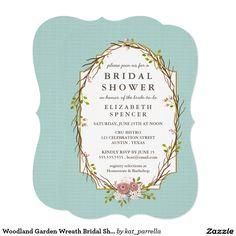 Woodland Garden Wreath Bridal Shower Invitation