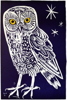 "Limited edition ""Owl"" linocut by Mark Hearld via St. Jude's Prints: http://www.stjudesprints.co.uk/collections/mark-hearld/products/owl-2#"