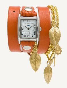 La Mer Collections :: Chain / Charm Wraps :: Orange - Gold Garden Leaf