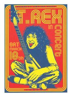 T-Rex Poster, Vintage T-Rex concert poster, T-Rex Memorabilia