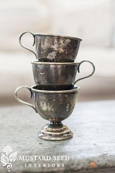 tarnished silver cups
