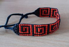 Loom Beadwoven Black and Red Bracelet Black and by WindalaCrafts