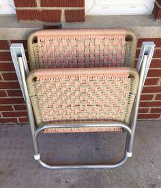 Vintage Peach and Tan Macrame Lawn Chair $65