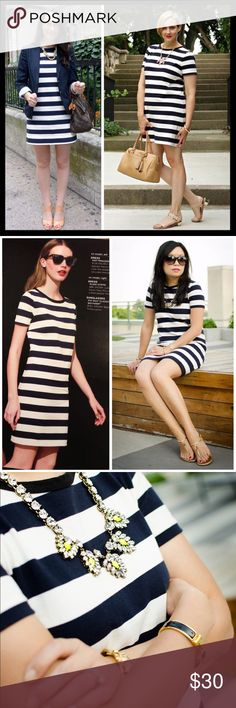 "j. crew // short sleeves rugby stripe navy dress It doesn't get any easier than this—with clean rugby stripes and an easy throw-on-and-go silhouette, this comfy cotton T-shirt dress takes the guesswork out of getting dressed. Shift, slightly a-line silhouette. Cotton. Falls 33"" from shoulder. Back zip. Machine wash. Gently worn and in great preowned condition, no major flaws. Navy and white with black trim at the neck. Bust measures 19"" across lying flat. J. Crew Dresses Mini"