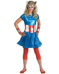 Kids Avengers Captain America Girl Child/Teen Costume, Not Just for Halloween!  Size: Teen(Jr. Sizes 7-9), M(children sizes 7-8), L (children sizes 10-12), Tween (tweens sizes 14-16)  Includes a mini-dress with attached belt, leggings, wrist gauntlets and character eye mask.