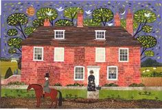 Chawton Cottage Caller - (home of Jane Austen) cut paper collage by Amanda White