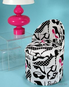 Barbie fabric print chair and lamp